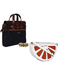 THE MAKER Combo Of Brown & Blue Synthetic Leather Unisex Laptop Bag With White And Orange Synthetic Leather Sling...
