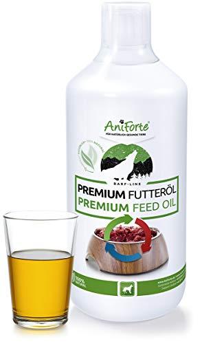 AniForte Barf Futteröl 1 Liter - Naturprodukt für Hunde, Kaltgepresst, Premium Öl, Barfen und Idealer Zusatz für Futter, Hochwertiges Basisöl, Natürlich, Artgerecht und Ausgewogen