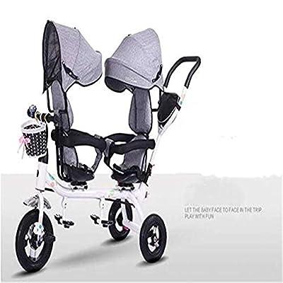 Cylficl Cochecito Doble, Bicicleta tándem, Cochecito Gemelo Cochecito de 1-6 años, el Asiento se Puede Girar 360 °