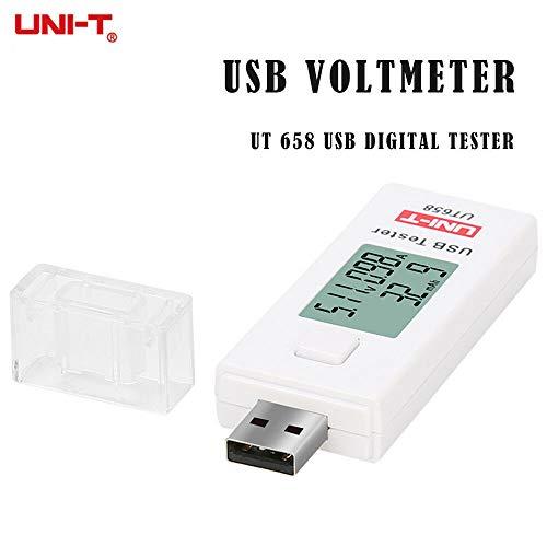 SENRISE USB-Tester, UT658 USB-Multimeter, Voltmeter, Amperemeter, Digitaler Spannungsprüfer, Testgeschwindigkeit von Ladegeräten, Kabel, Kapazität von Power Banks (weiß)