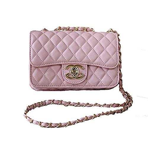 Handtaschen Messenger Bag Lingge Kette Paket Schulter Mode Mini Tasche,Pink-OneSize
