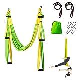 Sotech Hamaca de Yoga, Columpio de Yoga/Yoga Aéreo/Yoga Trapecio, Antigravedad Swing Sling Inversión, Carga Máx 300 kg (Verde/Amarillo)