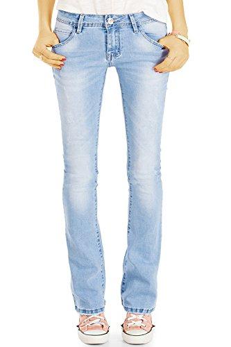 bestyledberlin Damen Schlagjeans, Boot-Cut Jeans Skinny FIt, Stretch Hüftjeans ausgestellt j76f 40/L -