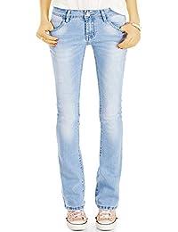 Bestyledberlin Damen Schlagjeans, Boot-Cut Jeans Skinny FIt, Stretch Hüftjeans ausgestellt j76f