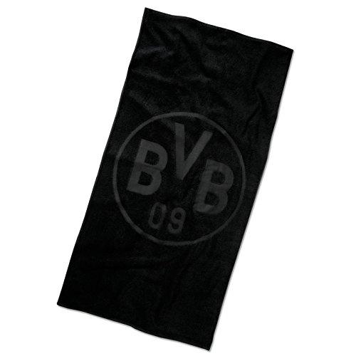 BVB Badetuch mit Emblem, Baumwolle, Schwarz, 180 x 70 x 1 cm