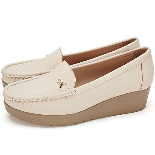 Mocasines Plataforma Cuña Negros para Mujer - Cestfini Los Cómodos Casual Zapatillas para Mujer, Zapatos del Barco, Cómodo y Antideslizante F012-BEIGE-41