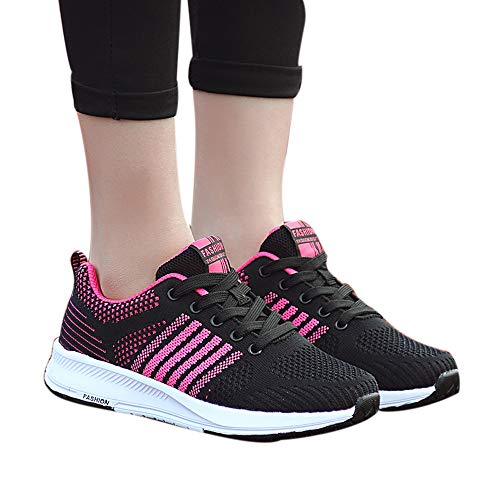 OSYARD Damen Laufschuhe Sneaker Sportschuhe,Fitnessschuhe Atmungsaktiv Schnürer Outdoorschuhe, Mode Frauen Leicht Running Shoes Freizeitschuhe Rutschfeste Sportlich Turnschuhe(245/40, Pink)