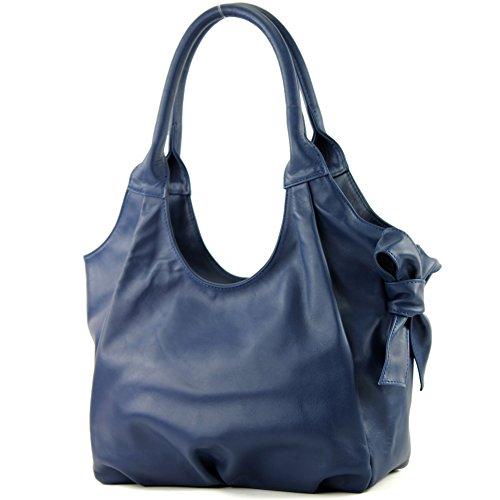 modamoda de - ital. Ledertasche Damenhandtasche Schultertasche Damentasche Nappaleder IT28 Saphirblau