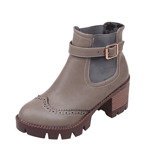 Mee Shoes Damen chunky heels runde Borte kurzschaft Stiefel Grau