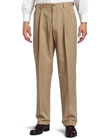 Haggar Men's Big-Tall Cool 18 Gabardine Hidden Expandable Waist Pleat Front Pant, British Khaki, 50x29