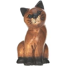 Figura del gato sentado - ornamento de la decoracion del hogar - escultura madera tallada - tamano del animal -tamaño 16cm