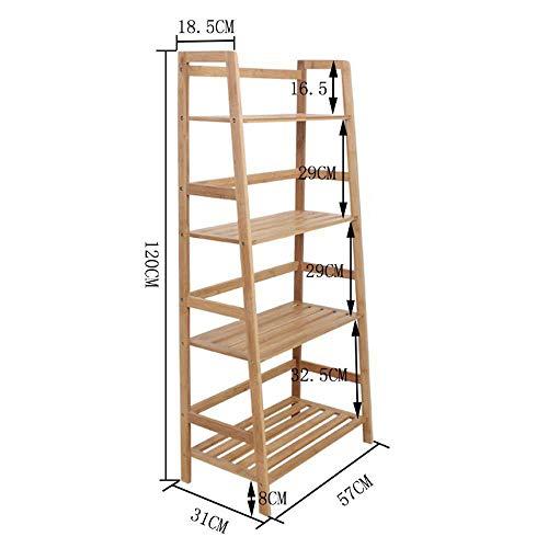 Yunfeng Standregal Bücherregal, Bodenstehende Multi-Funktions-Rack Bambus Leiter-Typ Stapeln Blume Racks Büro Ablage - Büro Stapeln Bücherregal