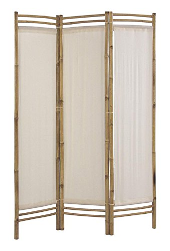 PEGANE Biombo de bambú y algodón de 3 paneles