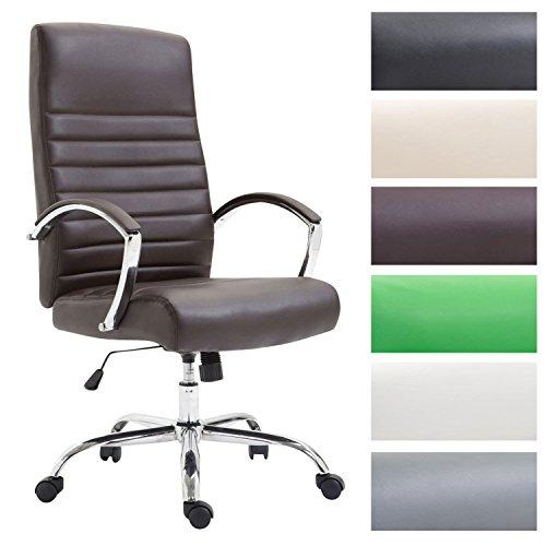 CLP Bürostuhl XL VALAIS mit Kunstlederbezug, Chefsessel, Drehstuhl mit Armlehnen, Bürodrehstuhl mit hochwertige Polsterung, max. Belastbarkeit 136 kg, Braun