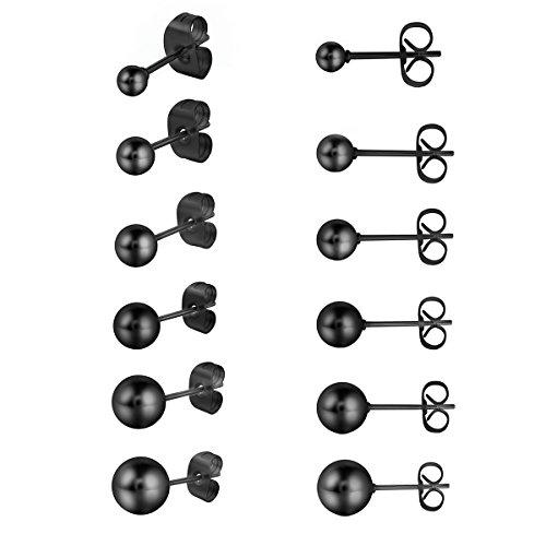 Cupimatch Ohrringe Set Kugel Ohrstecker Set Schwarz Silber Gold Damen Herren 6 Paare Edelstahl rund Ohrringe mit verschiedener Größen 3 mm - 8 mm