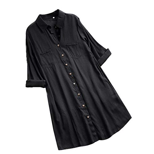 VEMOW Herbst Frühling Sommer Elegante Damen Frauen Stehkragen Langarm Casual Täglichen Party Strand Urlaub Lose Tunika Tops T-Shirt Bluse(Y2-c-Schwarz, EU-44/CN-XL) (Frauen Columbia-kapuzen-fleece)