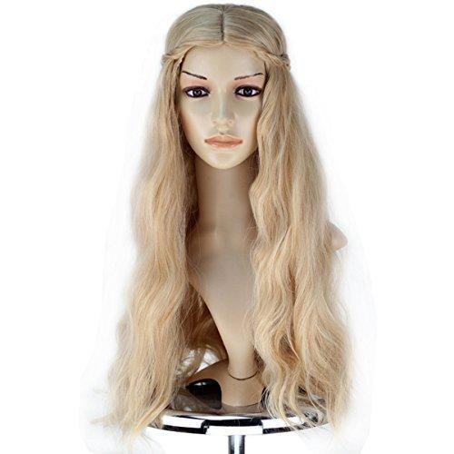 Mädchen Erwachsene Prinzessin Perücke lang gewellt gemischt blond mit Braid Cosplay Kostüm Perücke