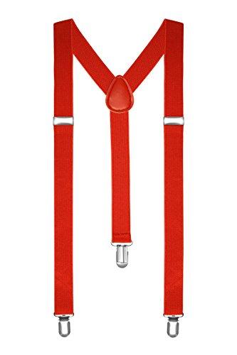Autiga® Hosenträger Herren Damen Hosen Träger Y Form Style Clips Schmal Neon Bunt Farbig rot (Tragen Hosenträger)