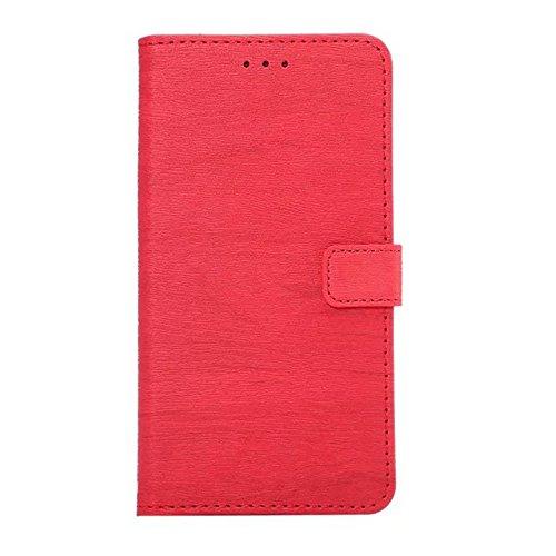 Hölzernes Beschaffenheits-Muster PU-lederner Mappen-Kasten-Abdeckungs-Folio-Standplatz-Fall mit Einbauschlitzen für iPhone 7 Plus ( Color : Rose ) Red
