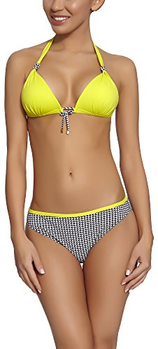 Feba Damen Push Up Bikini Set 91RG1R2T (Muster-15DK, Cup 70 D/Unterteil 36)