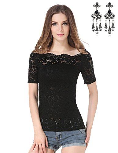 MODETREND Damen Shirt mit Wohnung Schultern Spitzen Kurzarm Elegante Oberteile Tops T-Shirt Sommer Schwarz