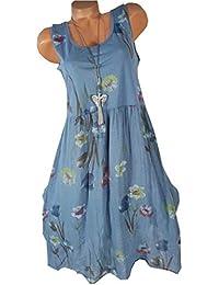 935b1596a0 Vestido Informal De Cuello Redondo De Verano para Mujer Vestido Sin Mangas  con Estampado Floral Y