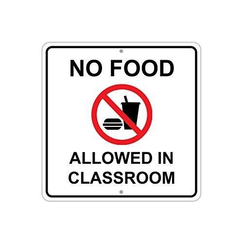 (Monsety Dekoration Schild No Food Allowed in Klassenzimmer mit Symbol Sicherheit Schild Retro Metall Sicherheit Geschenk)
