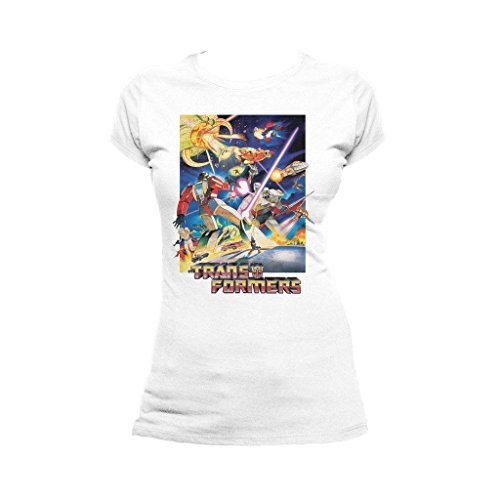 1986 Poster (Transformers G1 1986 Movie Poster Official Women's T-Shirt (White) (Small))