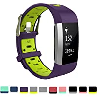 Cyeeson Strap for Fitbit Charge 2 - Soft Silicone Gel Adjustable Replacement Sport Strap Smart Watch Band Bracelet for Fitbit Charge 2 Smartwatch Heart Rate Fitness Wristband