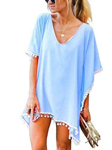 Tuopuda Damen Strandponcho Sommer Kaftan Strandkleid Bikini Cover Up (hellblau)