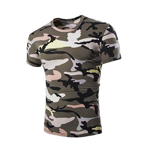 Sommer Cool Camouflage Print T-Shirt für Herren, Amlaiworld Causal Kurzarm Bluse (L, Armygrün)