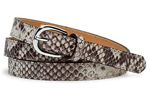 Caspar GU320 eleganter schmaler Damen Leder Gürtel mit Schlangenhaut Print, Gürtelgröße:90 [für Körperumfang 89-93 cm], Farbe:weiß (stracciatella) Leder Animal-print
