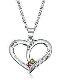 JewelOra–Collar con nombre grabado personalizado, corazón de plata de ley 925 DIY con piedra de nacimiento de imitación, collares y colgantes