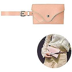 Famhome Riñonera de cuero, bolsa de cintura de cintura extraíble de viaje bolsa de teléfono celular Grandes de rosa