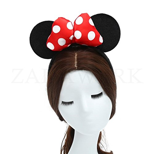 Minnie Kopf Kostüm Maus - ZADAWERK® Haarreif - Mini Mouse - Erwachsene - Rot - Kostüm - Karneval