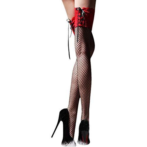 LuckyGirls Halterlose Strümpfe Spitze knot Nets Strümpfe ,Fettverbrennung, Formgebung dünnes Bein (Rot)
