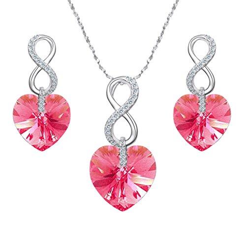 EVER FAITH-Collana Orecchini Donna Parure gioielli con Argento Figura 8 Infinito Pink Cuore Ciondolo Collana Orecchini Set decorazione con Cristalli da Swarovski
