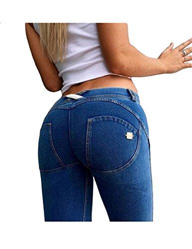 Bestgift Femme Jean serre slim flexible Bleu