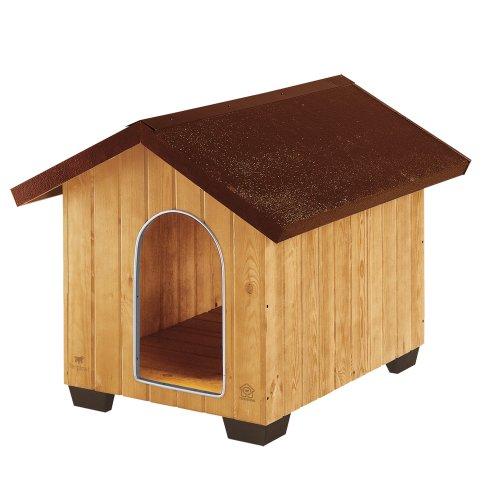 Feplast 87003000 Caseta de Exterior para Perros Domus Large, Robusta Madera Ecosostenible, Pies de Plástico, Rejilla de Ventilación, 81.5 x 102.5 x 78 Cm