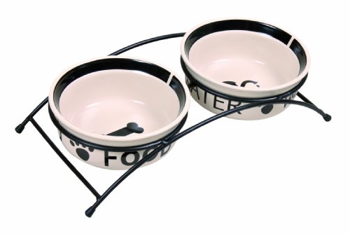 Trixie Eat on Feet Two Ceramic Dog Bowl Set, 0.6 Litre