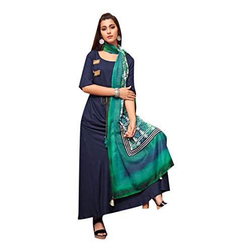 Rayon Abaya Style Salwar Kameez Anzug in Blau bereit zu tragen Pakistani Kurti Indian Women 7519