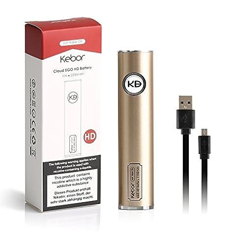 Kebor E Cig Cloud EGO HD Batterie 2200mAh pour Vape Pen avec Micro USB Chargeur Diamètre 22mm Sub Ohm Rechargeable Haute Drain 10A pour Cloud Vaping 0.2 - 3 ohm Suggérer 0.5 - 1 Fonctionne avec 510 Thread Atomisers Cigarette électronique Shisha DTL Direct To Lung Vaping Built-in Cellule sûre de haute qualité Sans nicotine ni tabac - Or
