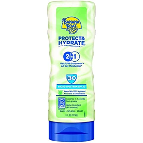 Banana Boat Sunscreen Protect and Hydrate Moisturizing Broad Spectrum Sun Care Sunscreen Lotion - SPF 30, 6 Ounce by Banana Boat