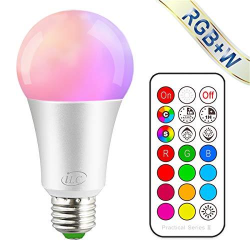 iLC Farbige Leuchtmittel LED RGBW Lampe Dimmbare Farbige Leuchtmitte Lampen 10W E27 Edison RGB LED Birnen - Dual Memory - 12 Farben - Kabellos Fernbedienung inklusive -