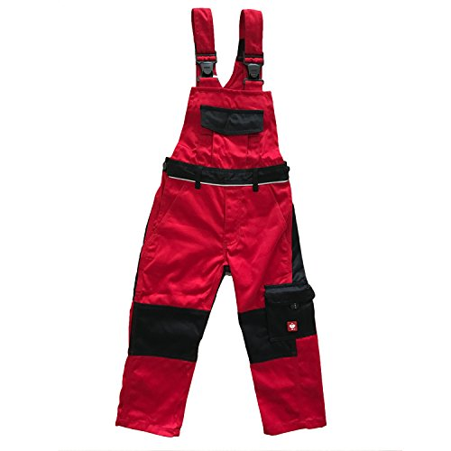 Engelbert Strauss Kinder Latzhose e.s. image, Farbe:rot/schwarz, Größe:98/104 - 2-4 Jahre