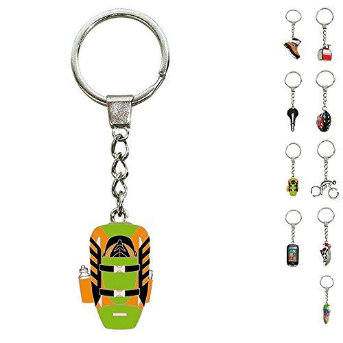 ebos Schlüsselanhänger ✓ aus Metall ✓ Accessoire | fob Key | Sport | Sportarten | Wandern | (Rucksack / orange-grün)
