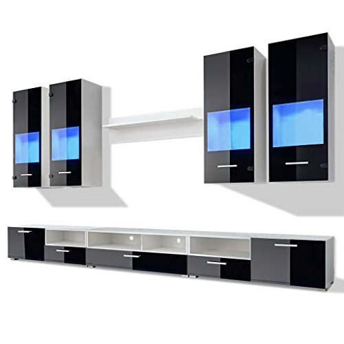 Festnight set parete attrezzata con mobile porta tv moderno con vetrina nero brillante e luci blu a led