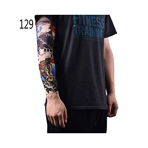 Temporäre Tattoo-Ärmel,Motorradhülle Sonnenschutz, New Hot Driving Sunscreen Arm Tatoo Sleeve Man Woman Cool Cycling Temporary Flash Tattoo Stretchy Scorpion Fake Sleeves 46Cm 11