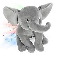 Cuddly Elephant Plush, Star Projector Night Light, Soft Elephant Gifts for Bedroom Kids - INNObeta Elphy Grey