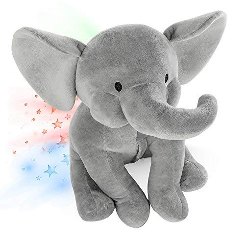 INNObeta Elefante Peluche Bebe, Luz De Proyector Luces Estrellas Infantil, Lampara Elefante Elphy Gris